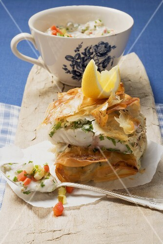 Fried herb fish wrapped in puff pastry