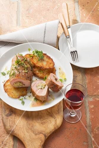 Pork fillet filled with gorgonzola