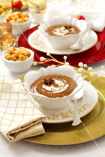 Cream of plum soup with star anise for Christmas dinner
