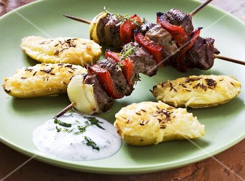 Lamb kebab with cheese potatoes