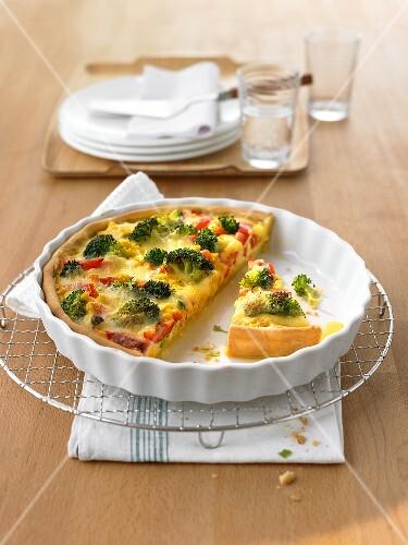 Broccoli tart in a baking dish