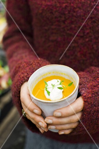 Carrot and orange soup with creamy horseradish
