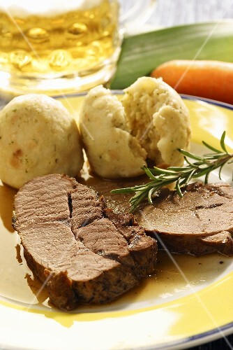 Roast Bavarian wild boar with bread dumplings