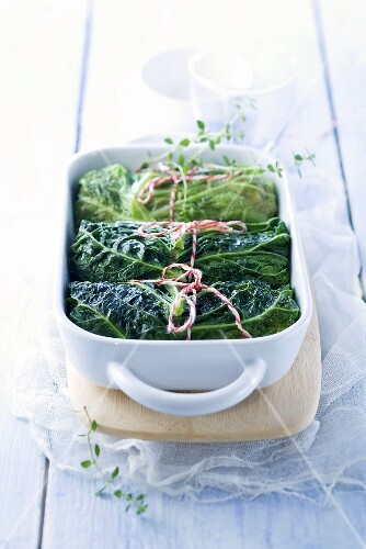 Stuffed savoy cabbage roulade