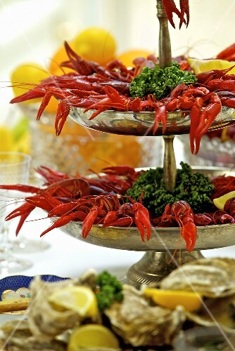 Cooked crayfish on a cake stand