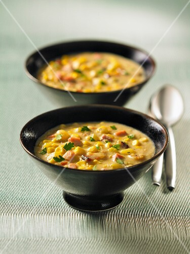 Two bowls of corn chowder