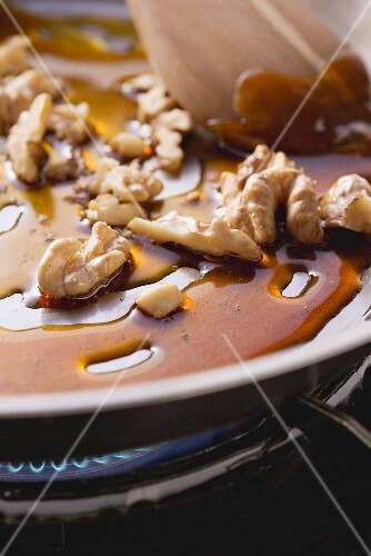 Walnuts being caramelised