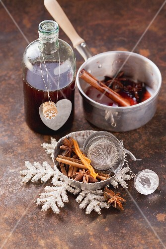 Home-made mulled wine syrup