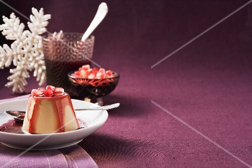 Panna cotta with pomegranate seeds