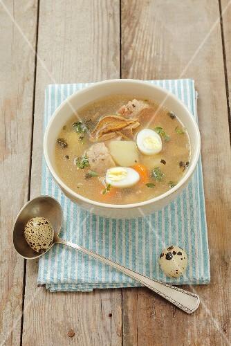Zalewajka (soup with potatoes, mushrooms, bread and quails' eggs, Poland)