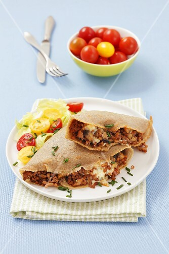 Buckwheat crepes with minced meat and mushrooms
