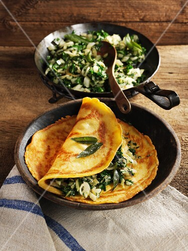 Chickpea pancakes with chard