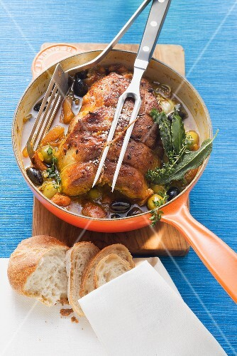Braised breast of veal with saffron and olives