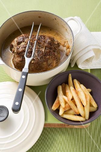 Roast wild boar with potato noodles