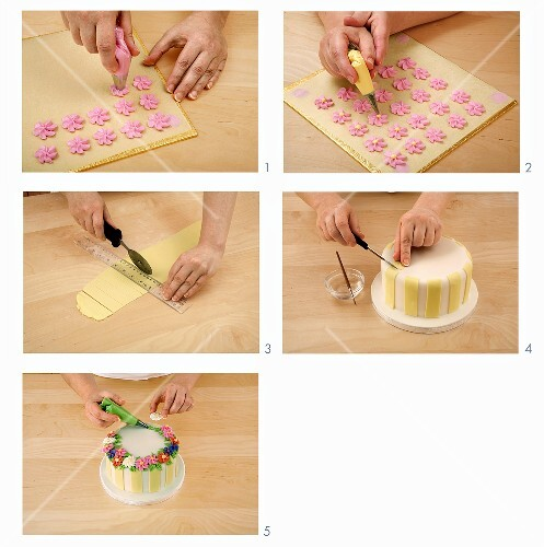 Making sugar flowers and decorating a cake