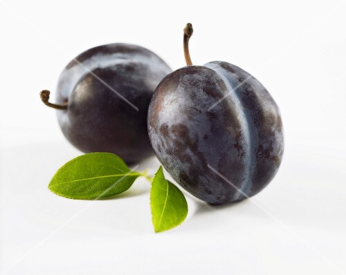 Two plums and leaves