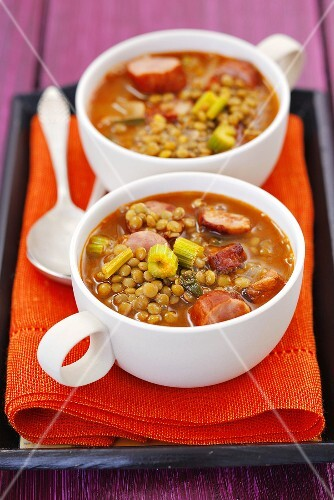 Lentil stew with sausage and celery