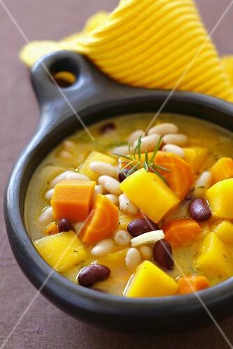 Pumpkin, carrot and bean soup