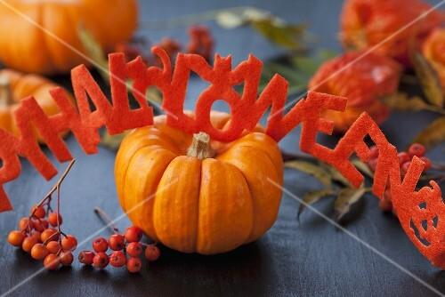 Kürbis, Vogelbeeren und Schrift-Girlande zu Halloween