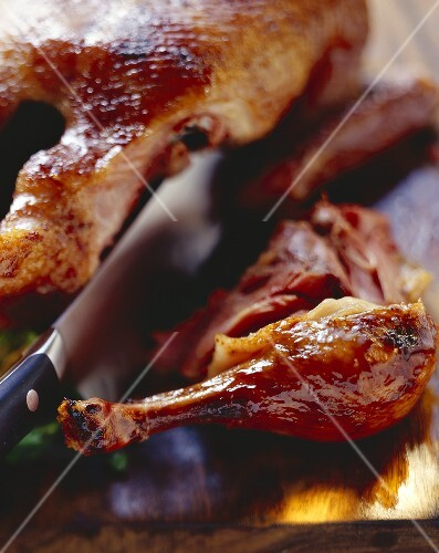 Carving glazed duck