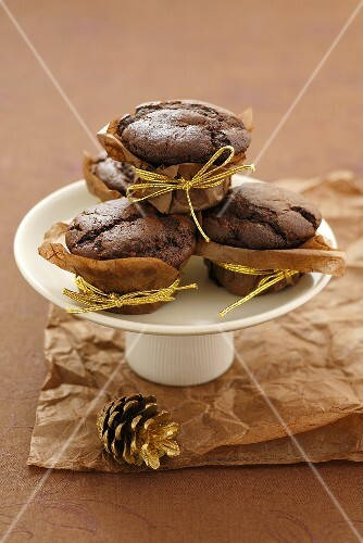 Chocolate muffins in paper cases