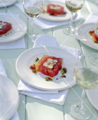 Langoustine and tomato terrine with basil