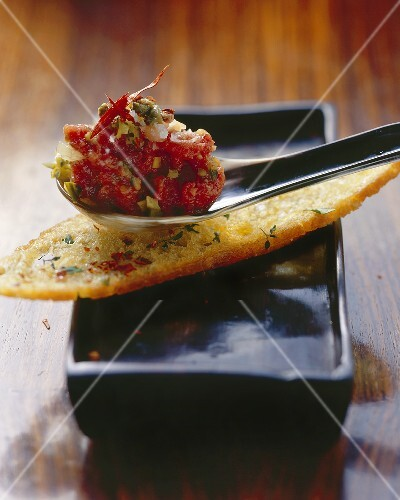 Beef tartare with marinated ginger and toasted farmhouse bread
