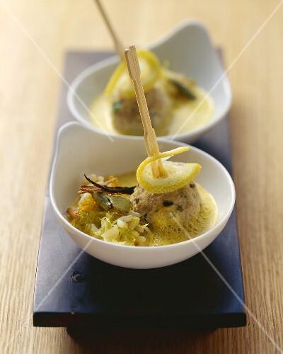 Veal balls in cardamom and lemon sauce