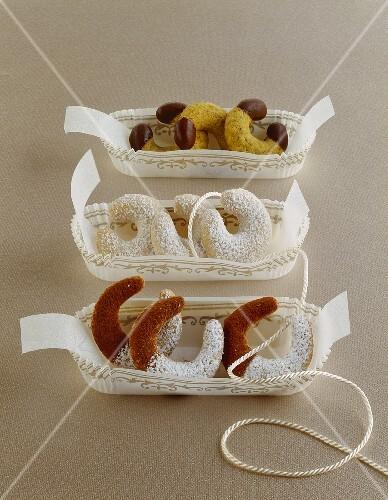 Pumpkin seed biscuits, vanilla biscuits and chestnut biscuits