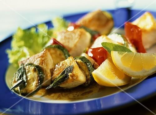 Swordfish and vegetable kebabs