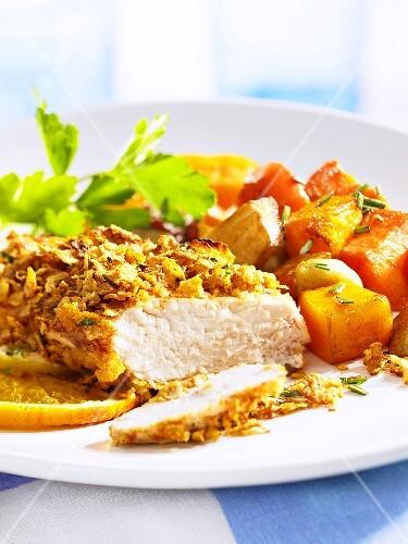 Chicken breast with cornflake crust