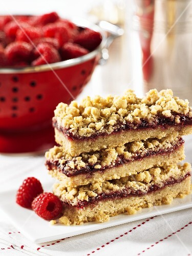 A stack of raspberry crumble slices
