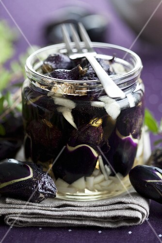 Pickled aubergines and onions