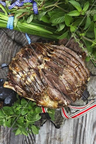 Roast lamb and fresh herbs