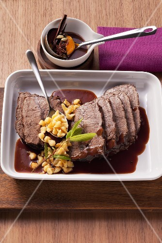 Braised beef with a mulled wine sauce
