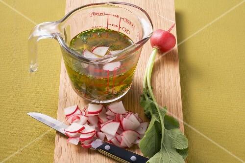 Radish and chive vinaigrette