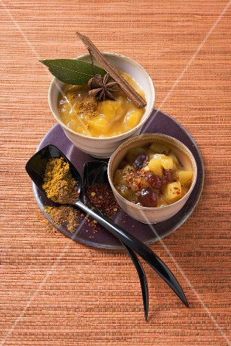Spicy mango chutney and pineapple chutney with cranberries