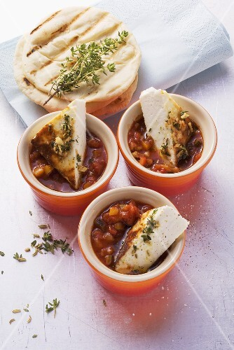 Ratatouille sauce with grilled Manouri cheese and unleavened bread
