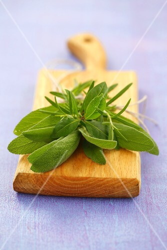 A bouquet of herbs: sage, rosemary and bay leaves