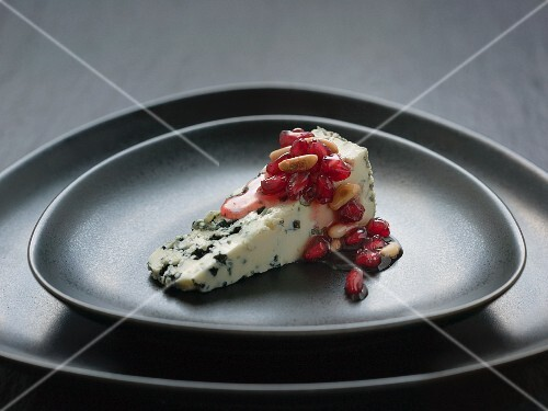 Blue cheese with pomegranate chutney and pine nuts