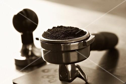Espresso powder in the filter holder of an espresso maker