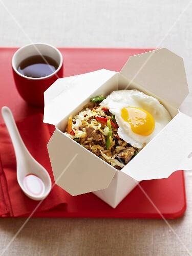 Nasi goreng with pork and fried egg