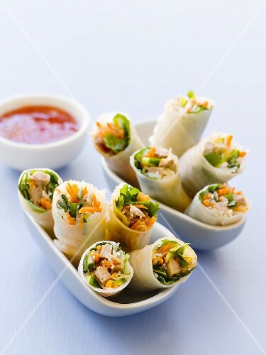 Spring rolls filled with duck and vegetables
