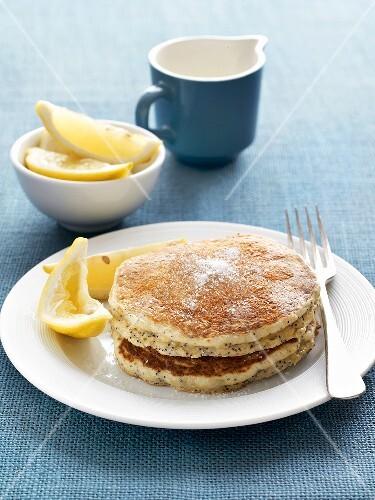 Poppy seed pancakes with lemon