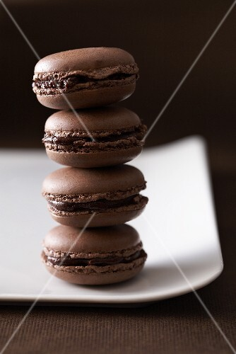 Chocolate macarons, stacked