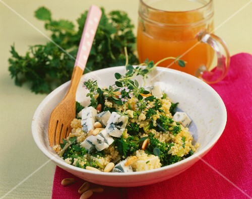 Bulgur wheat risotto with stinging nettles, gorgonzola and pine nuts