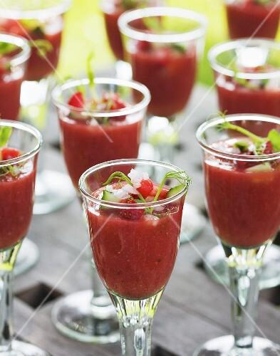 Strawberry and cucumber gazpacho in glasses