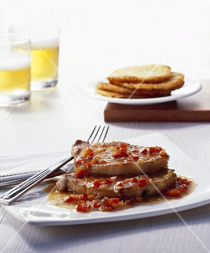 Minute steaks with pepper sauce