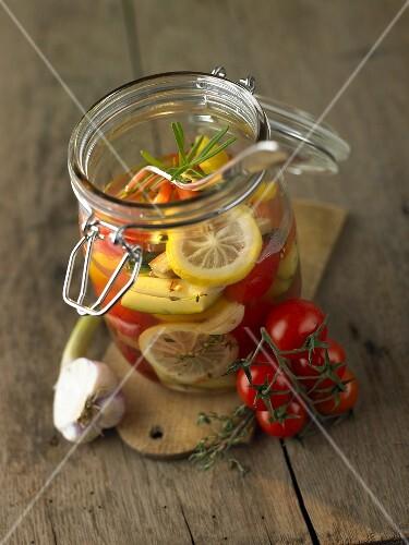 Pickled Mediterranean vegetables with lemon