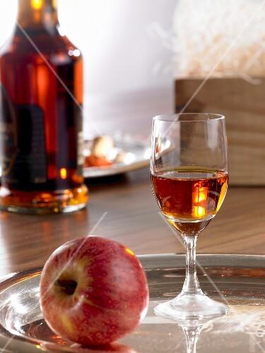 A glass of calvados (apple brandy)